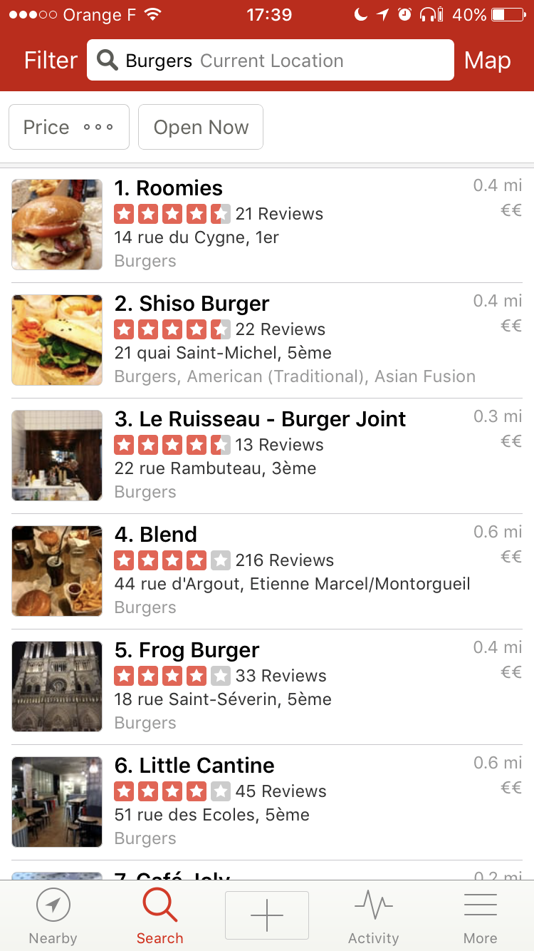 Search result design: displaying results as a list (like Yelp)